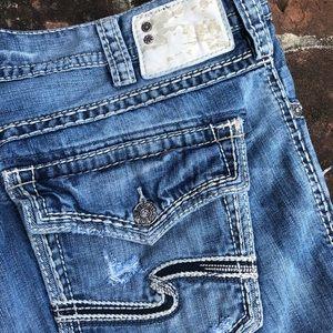 Men's Silver Zac Flap distressed jeans sz 40/32